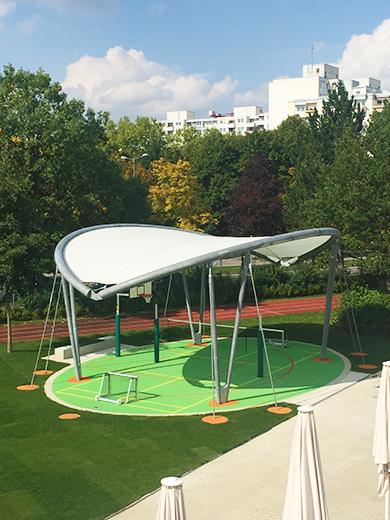 Membrandach I Textile Architektur I Membranarchitektur I Überdachung Spielfeld I Überdachung Spielplatz
